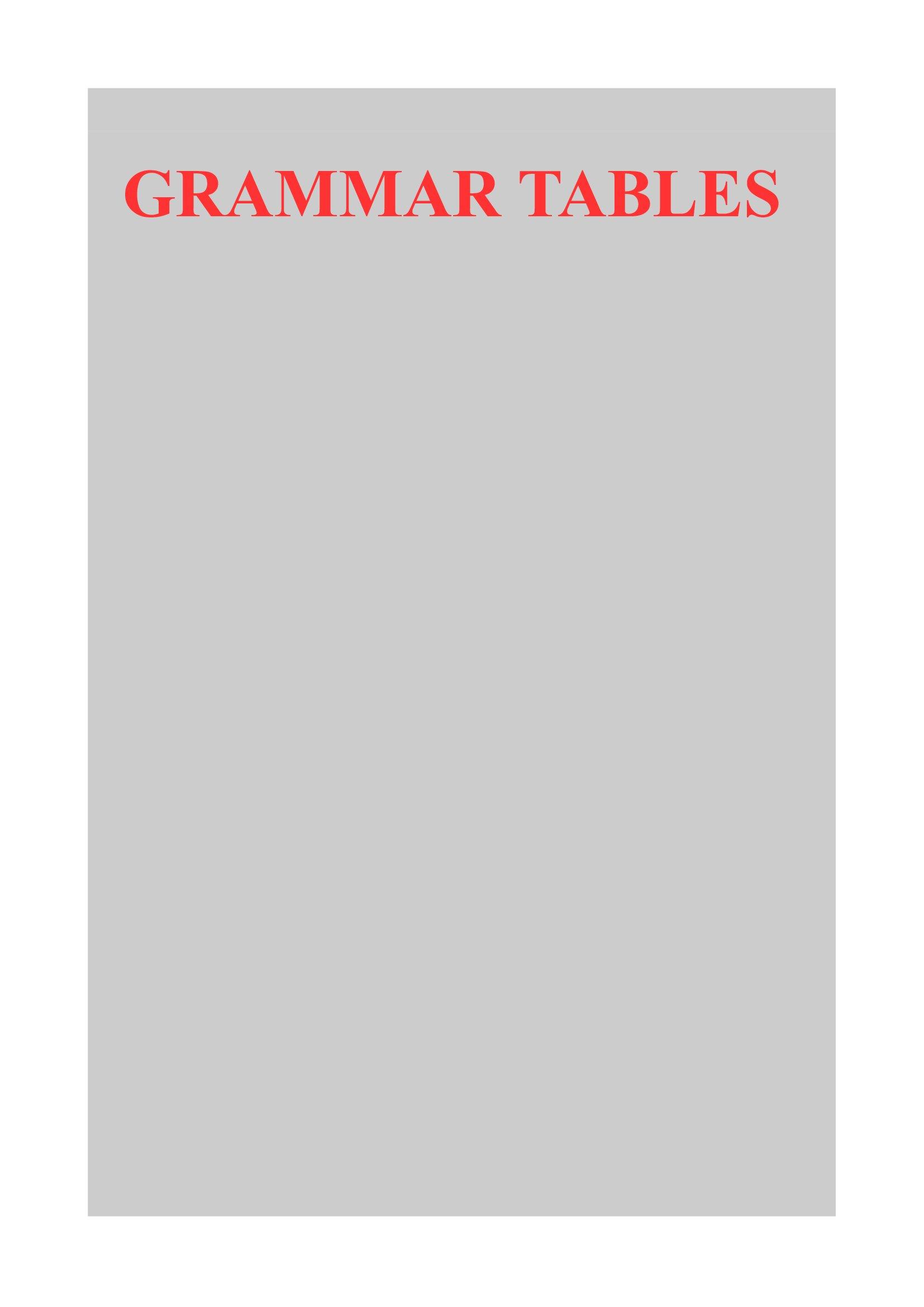 Grammar Tables: Declination of Nouns, Adjectives, Pronouns