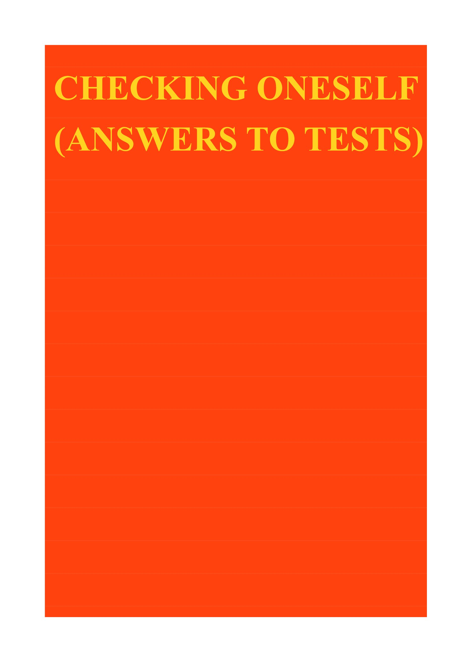 Checking oneself (answers to tests)
