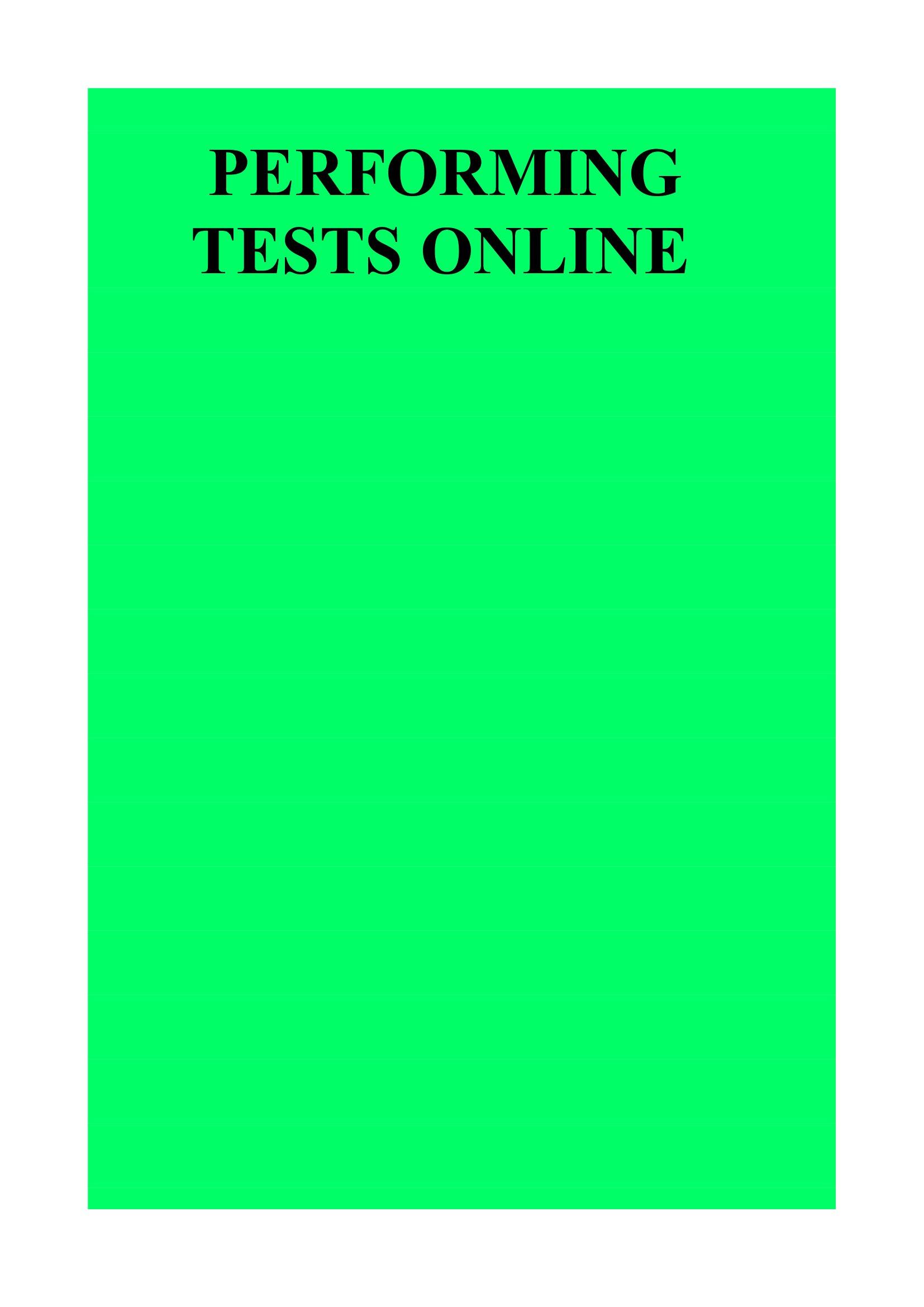 Performing Tests online